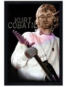 Black Wooden Framed Kurt Cobain Nevermind