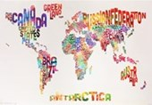 Text Map Of The World Stylish Geography