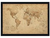 Black Wooden Framed Antique Style Map Geographical World Map