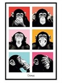 Gloss Black Framed Pop Art Chimps The Chimp