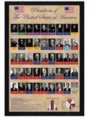 Black Wooden Framed George Washington to Barack Obama Presidents of The USA