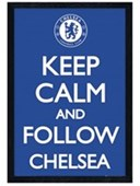 Black Wooden Framed Keep Calm and Follow Chelsea Chelsea Football Club