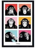 Black Wooden Framed Pop Art Chimps The Chimp