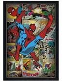 Black Wooden Framed Retro Spiderman Compilation Marvel Comics