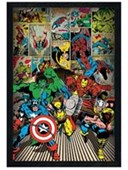Black Wooden Framed Here Come The Heroes Marvel Comics Superheroes