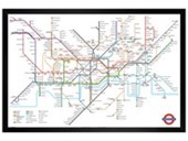 Black Wooden Framed London Underground Map London Underground