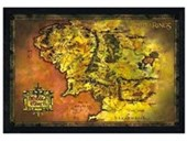 Black Wooden Framed Middle Earth Map Lord Of The Rings