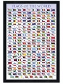 Black Wooden Framed Flags Of The World Educational Chart