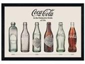 Black Wooden Framed Evolution Of Bottles Coca Cola