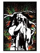 Gloss Black Framed Rasta Splatter Bob Marley
