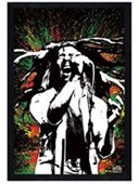 Black Wooden Framed Rasta Splatter Bob Marley