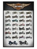 Gloss Black Framed Evolution of the Motor Bike Harley Davidson