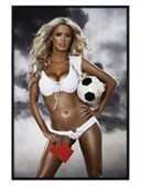 Gloss Black Framed Red Card Footbal Babe