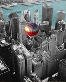 Hot Air Balloon Over New York New York City