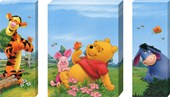 Pooh, Piglet, Tigger and Eeyore Triptych Walt Disney's Winnie-the-Pooh