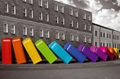 Multicoloured Falling Phoneboxes Quirky British Photography