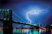 Lightning over The Brooklyn Bridge New York Photography