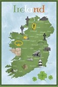 Map of Ireland Emerald Isle
