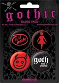 Gothic Girls, Devil Women, Evil Inside Gothic Button Badge Pack