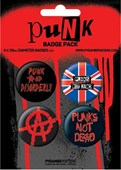 Punk Anarchy - Punks Not Dead Punk Button Badge Pack