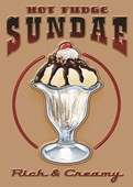 Hot Fudge Sundae Retro Sign