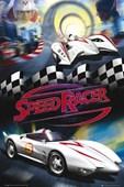 Emile Hirsch with Mach 5 Speed Racer: The Movie
