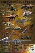 Dinosaurs from the Triassic, Jurassic and Cretaceo Educational Dinosaurs Poster