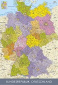 Colourful German Map of Deutschland German States in the Bundesrepublik