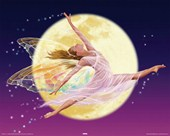 Fairy Dancing and Flying In Front of The Full Moon