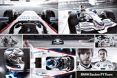 Collage of BMW Sauber Racing Cars BMW Sauber F1 Racing Cars