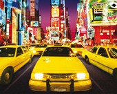 Luminous Yellow Cabs Times Square