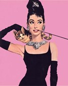 Audrey Hepburn as Holly Golightly Breakfast at Tiffany's Pink Illustration