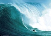 Laird Hamilton Rides a Wave at Peahi, Santa Monica Riding Giants