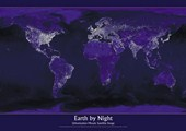 Satellite Urbanization Image of Earth Planet Earth by Night