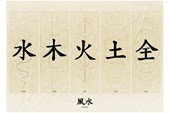 Water, Wood, Fire, Earth and Metal Chinese Writing
