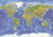World Terrain Map World Map