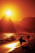 Ipanema Beach at Sunset Rio De Janeiro, Brazil, South America