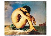 Young  Man Nude, Sits by the Sea Jean-Hippolyte Flandrin