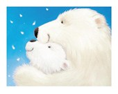 Fluffy Bears Watching the Snow Fall by Alison Edgson