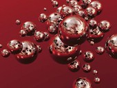 Chromium Echoes Silver Orbs on Red Background by Trevor Scobie