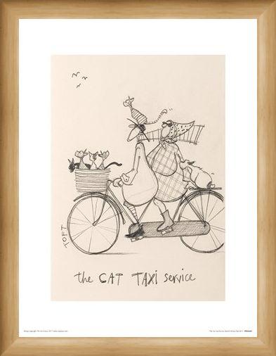 Framed Framed The Cat Taxi Service Sketch - Sam Toft