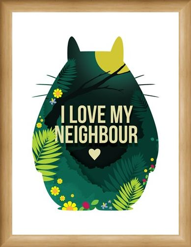 Framed Framed I Love My Neighbour - Inspired by My Neighbour Totoro