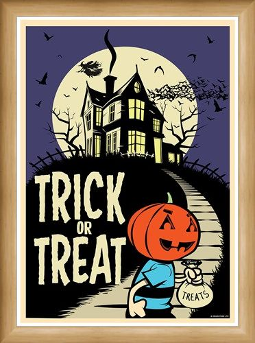 Framed Framed Trick Or Treat - Retro Halloween