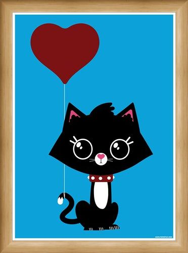Framed Framed Love Cat - Love Is Ballooning