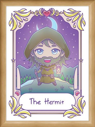 Framed Framed Deadly Tarot Kawaii The Hermit Mini Poster -