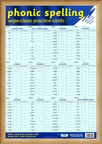 Framed Framed Phonic Spelling Practice Cards - Learning to Spell