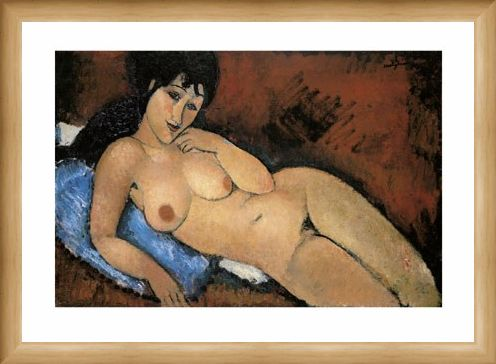 Framed Framed Nude on a Blue Cushion - Amedeo Modigliani