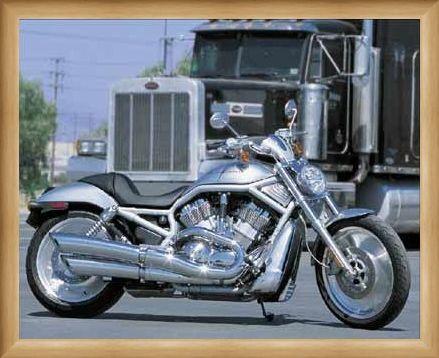 Framed Framed Silver Machine - Harley Davidson