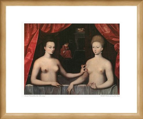 Framed Framed Gabrielle d'Estrees and one of her Sisters - School of Fontainbleau