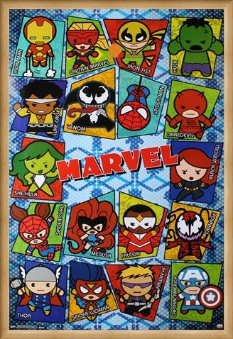 Framed Framed Kawaii Grid - Marvel